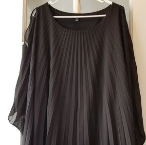 Roz&Ali Cold Shoulder Pleated and layered Blouse